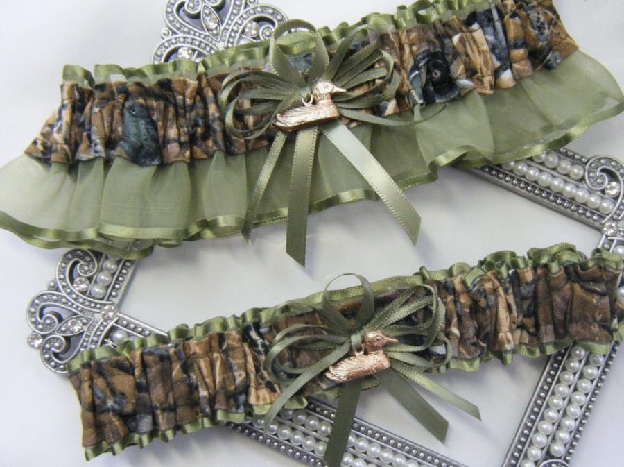 Hochzeit - Duck Hunting CAMOUFLAGE wedding garters Duck Camo garter Moss