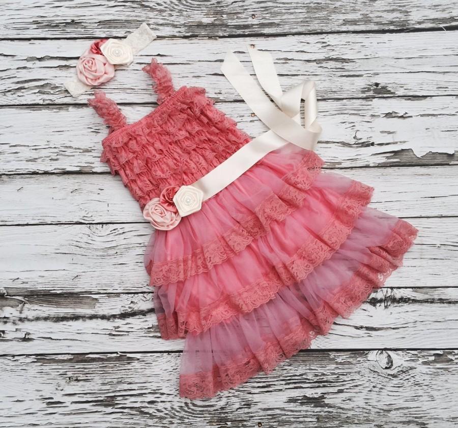 Wedding - Coral flower girl dress. Flower girl dress. Lace flowergirl dress.  Coral wedding. Toddler dress. Petti lace dress. Ruffle dress.