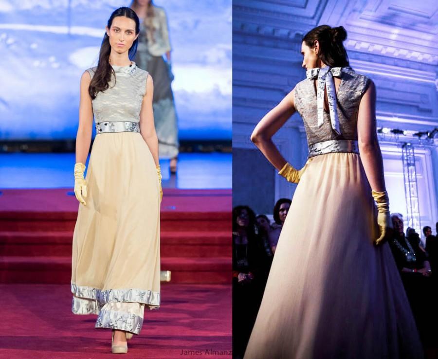 Chiffon Silk Gown Wedding Dress LACE Yellow Silver Jacquard Alternative Maxi Shabby Chic