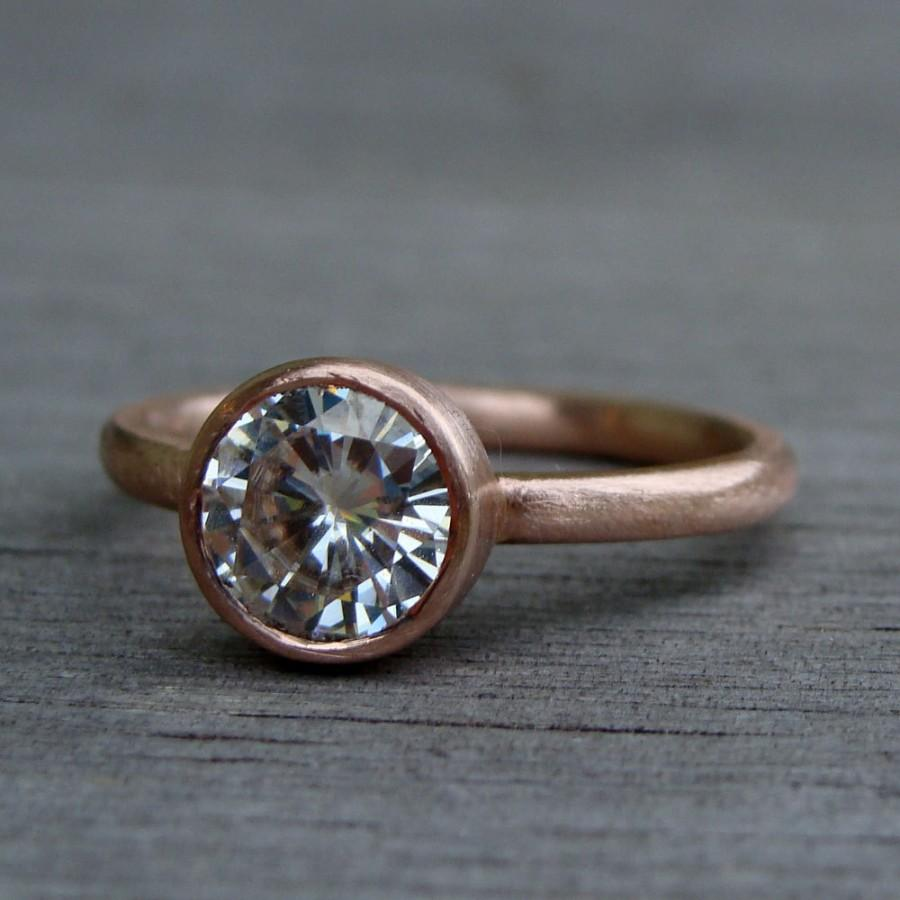Mariage - Moissanite Engagement Ring (1.25 carat, Forever Brilliant) - Recycled 14k Rose Gold, Made to Order - Eco-Friendly Diamond Alternative