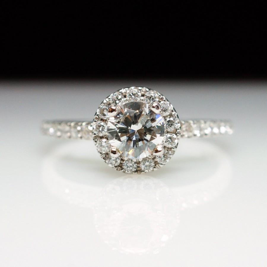 Diamond Engagement Ring Vintage Style Solitaire With Halo And Diamond  Accents Set In 14k White Gold  86ct
