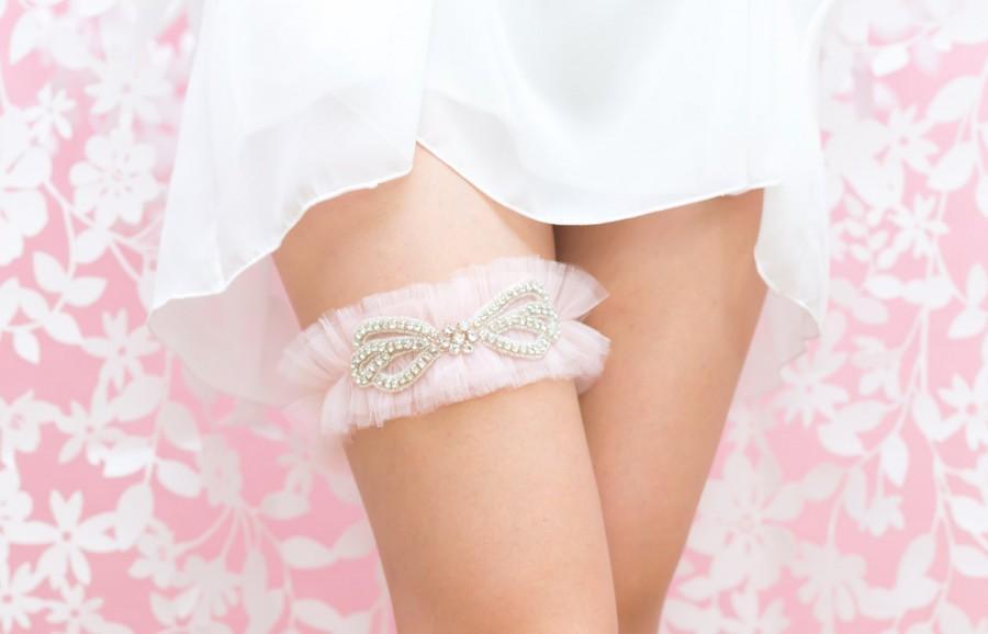 Свадьба - Rhinestone Wedding Garter Belt- Blush Pink Tulle, Rhinestone Garter, Princess Bride, Lingerie