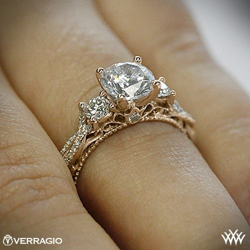 20k Rose Gold Verragio AFN 5013R 4 Beaded Twist 3 Stone Engagement Ring 2540