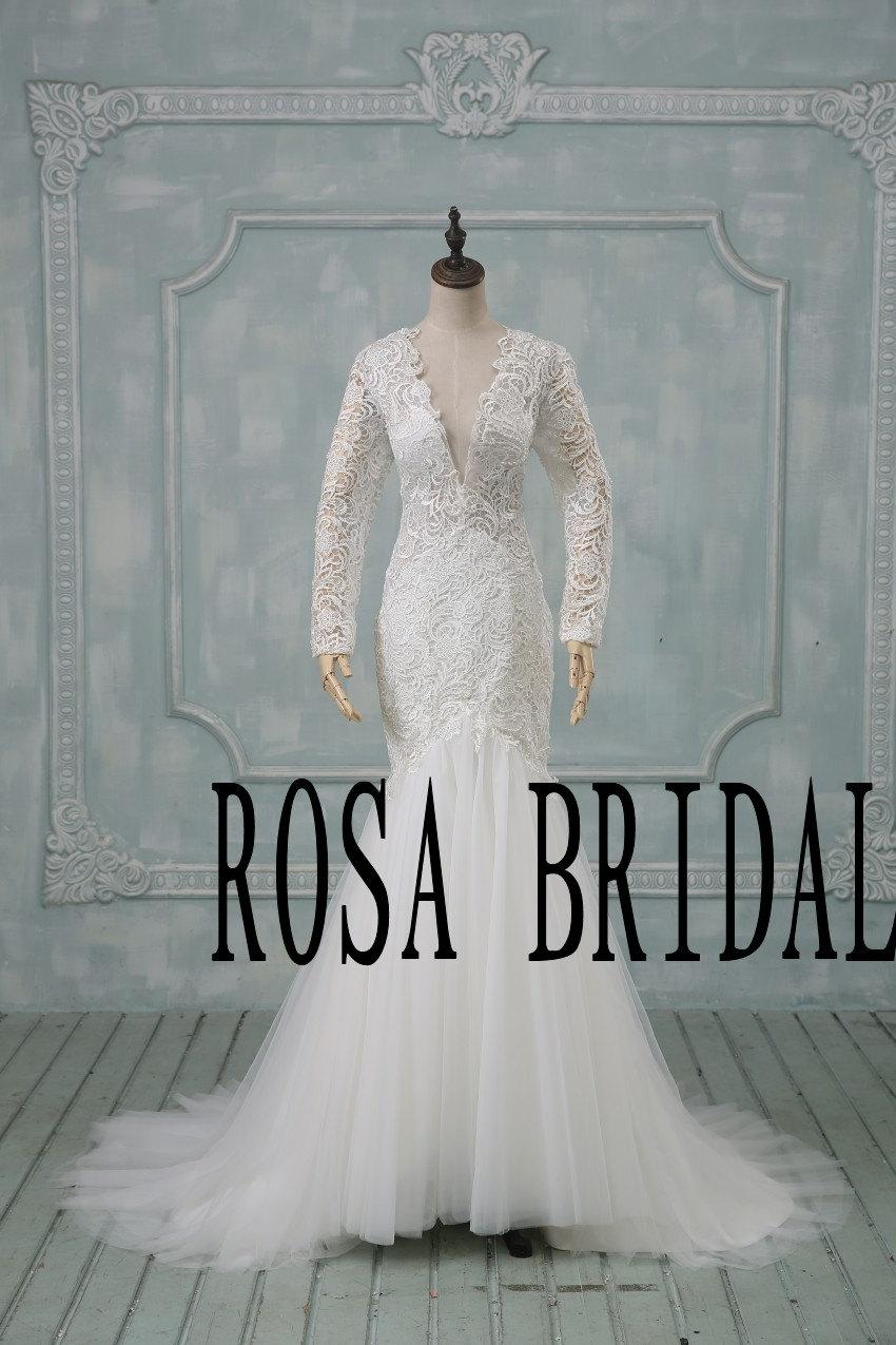 زفاف - Ivory lace wedding dress, Vintage wedding dress, Mermaid wedding dress, Long sleeve wedding dress lace, Deep V neck wedding dress backless