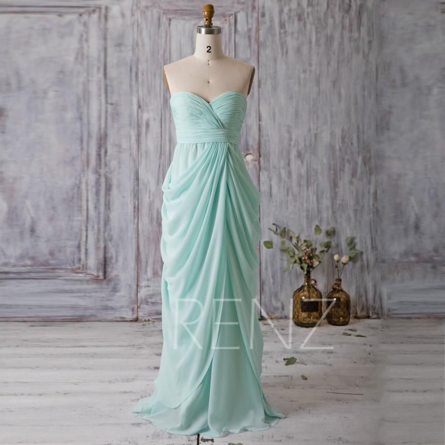 2016 Mint Blue Bridesmaid Dress Long, Draped Wedding Dress ...