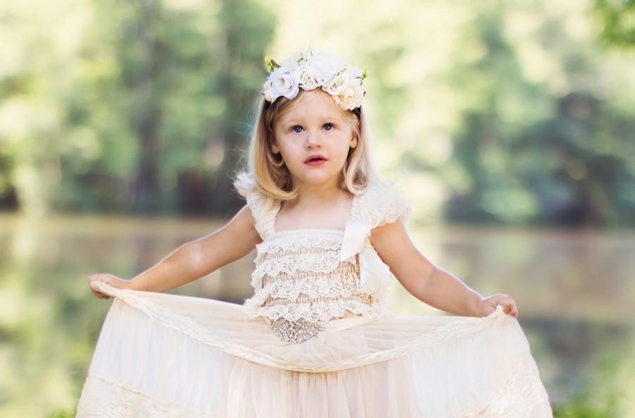 زفاف - Rustic Flower Girl Dress, Champagne Rustic Country Lace Dress, Vintage Inspired Lace Dress, Beige Lace Dress