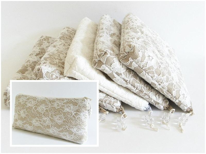 Hochzeit - Nude Wedding Clutches, Lace Wristlets, Set of 4 Bridesmaids Gift Bags, Special Occasion Purse