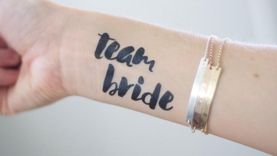 Mariage - Bold TEAM BRIDE  bachelorette party/wedding temporary tattoos in black