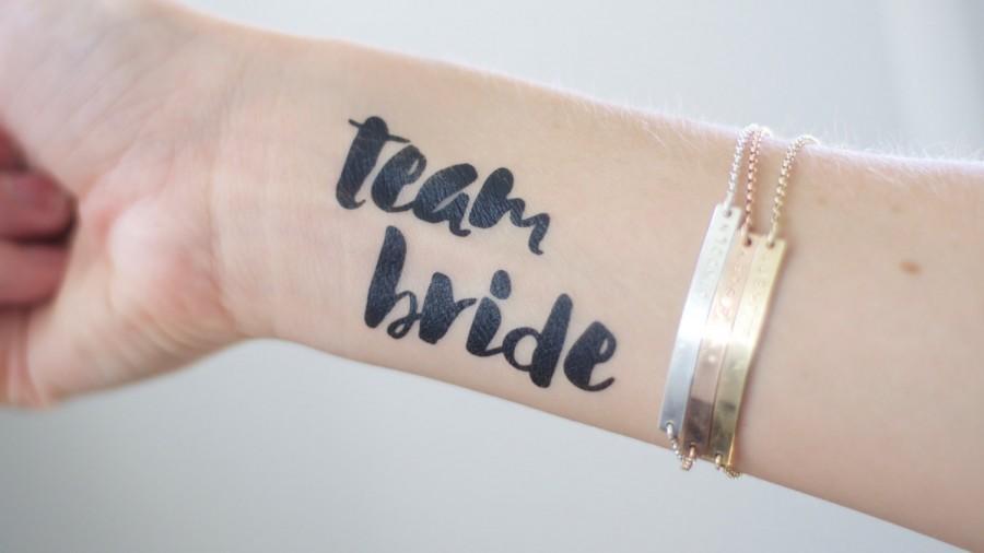 Wedding - Bold TEAM BRIDE  bachelorette party/wedding temporary tattoos in black