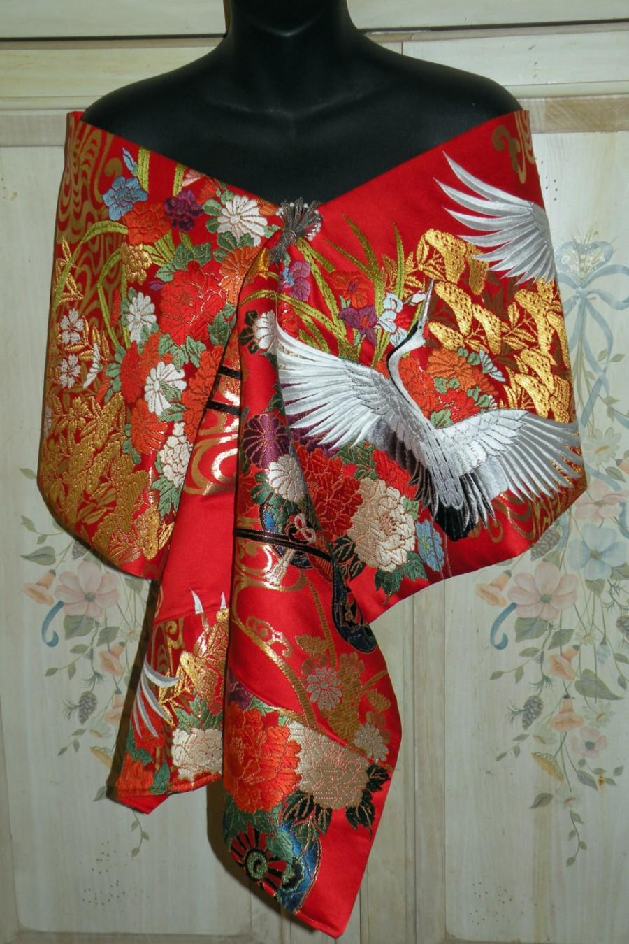 Wedding - Silk Kimono Fabric Bridal Wrap/Shawl/Shrug/Bolero.Wedding Gift.Embroidered Flying Ivory Cranes and Flower Carts..Red/Gold..Clutch/Purse/Bag