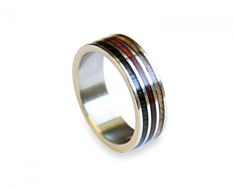 Mariage - Titanium ring with three types of wood inlay