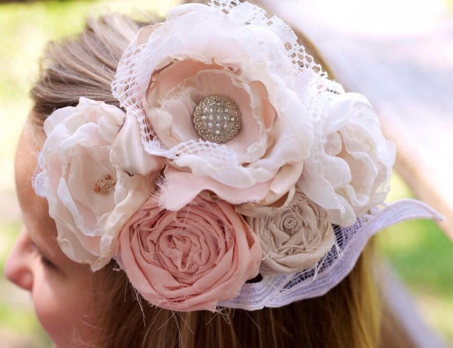 Mariage - Vintage lace hair clip fabric flower wedding fascinator up-cycled blush pink ivory wedding upcycled wedding hairpiece easter hair photo prop