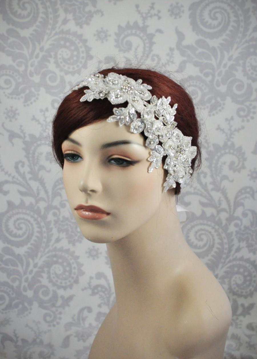 زفاف - Bridal Headband with crystals, and Tiny Sequins, Crystal Hair Accessories, Crystal and Lace Bridal Headpiece on a Satin Ribbon - 105HP