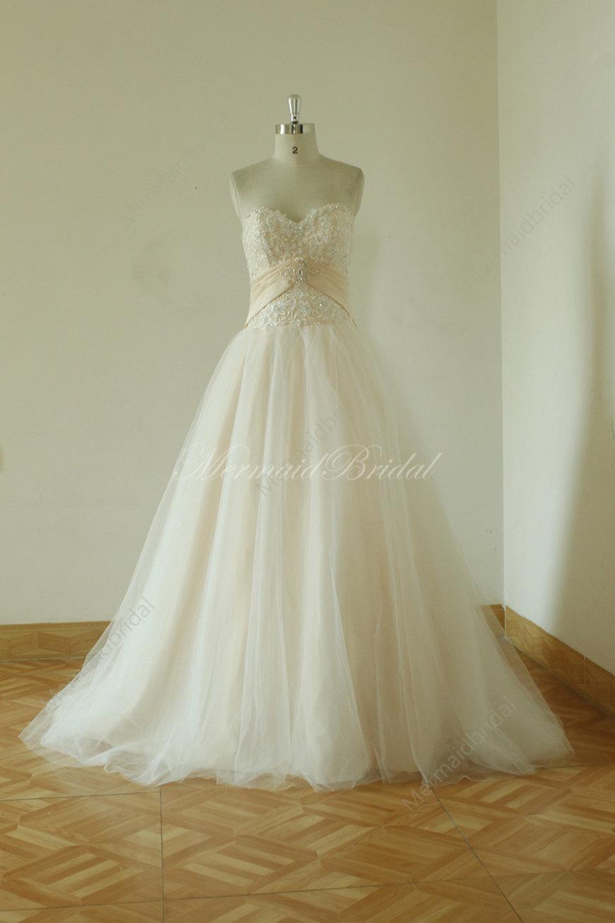 زفاف - Romantic blush A line Simple Wedding dresses lace Wedding gowns, blush wedding dress, prom gowns with demi cup