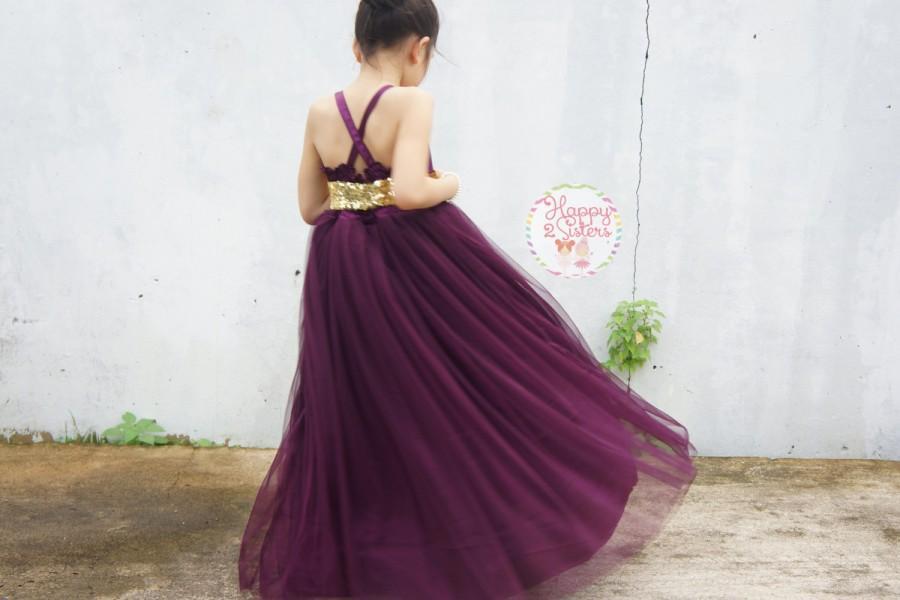 زفاف - Eggplant flower girl dress, Plum flower girl dress, Eggplant and gold flower girl dress, flower girls dress ivory, rustic flower girl