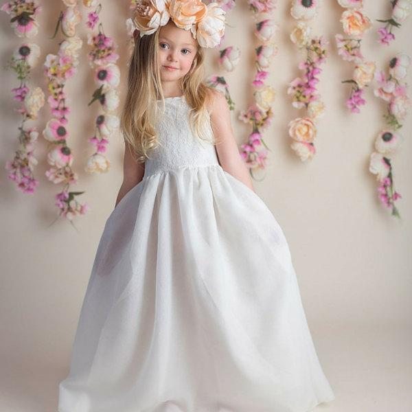 زفاف - flower girl dress, flower girl dresses, lace baby dress, rustic girls dress, lace flower girl dress, country flower girl, ivory dress