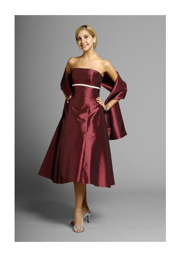 Свадьба - Strapless Shawl Burgundy Sleeveless Ruched Satin Knee Length