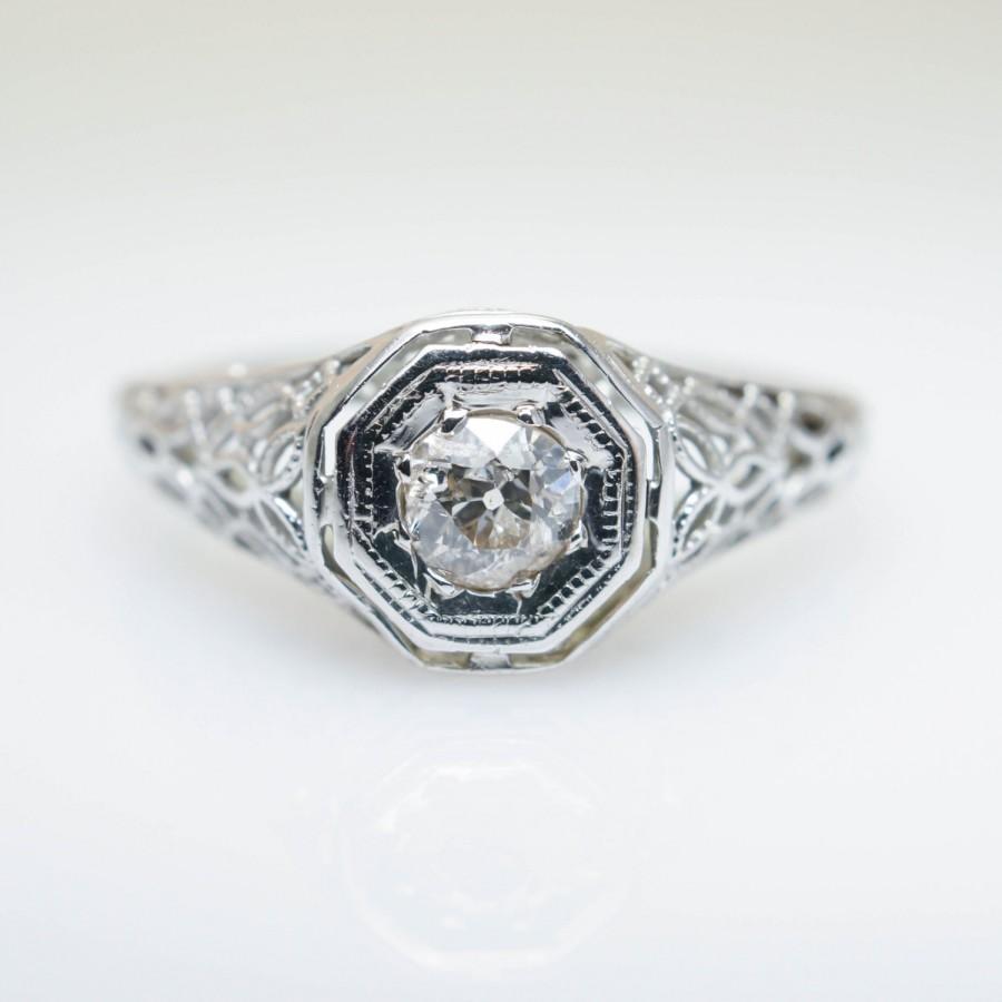 Mariage - Intricate Antique Late Edwardian Old European Cut Diamond Engagement Ring 18k White Gold Intricate Ring Unique Angular Vintage Engagement
