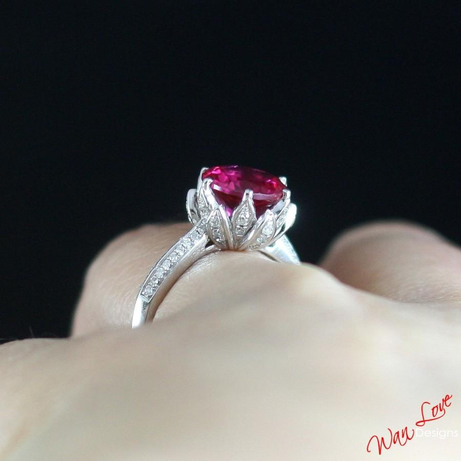 made ruby round white wedding flower rose natural lotus custom ring anniversary platinum engagement media rings gold diamond yellow