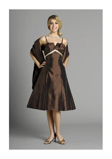 Mariage - Spaghetti Straps Brown Ruched Sleeveless Shawl Satin Knee Length