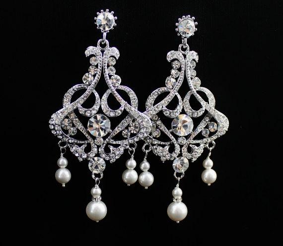 زفاف - Pearl & Crystal Earrings, Crystal Chandelier Earrings, Statement Wedding Earrings, Rhinestone and Pearl Bridal Earrings, NINA - SHALIMAR