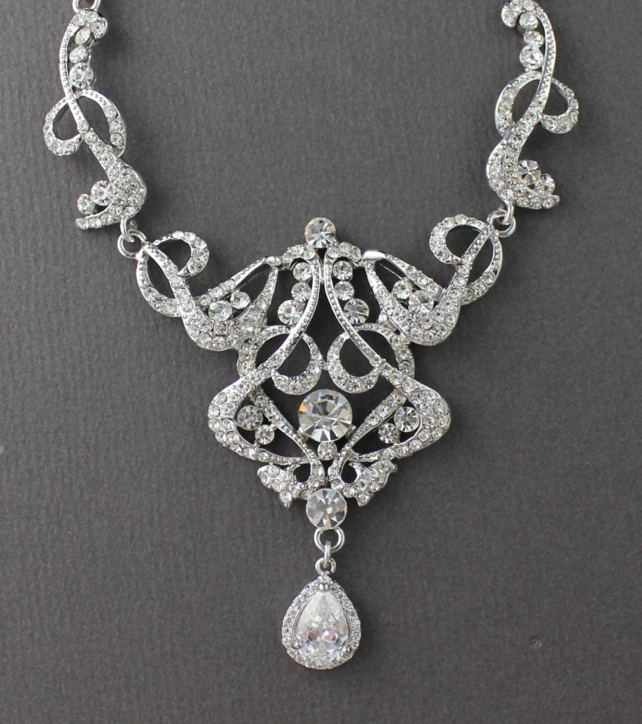 Mariage - Rhinestone Bridal Necklace, Crystal Bridal Necklace, Art Deco Wedding Necklace, Statement Bridal Jewelry, NINA