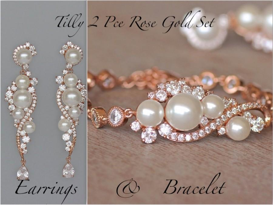 Bridal Jewelry Set Pearl Crystal Rose Gold 18k Earrings Bracelet Wedding Tilly