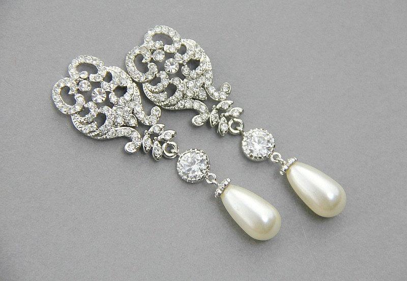 Wedding Chandelier Earrings Bridal Pearl Drop Crystal Long Dangle Jewelry Ready To Ship
