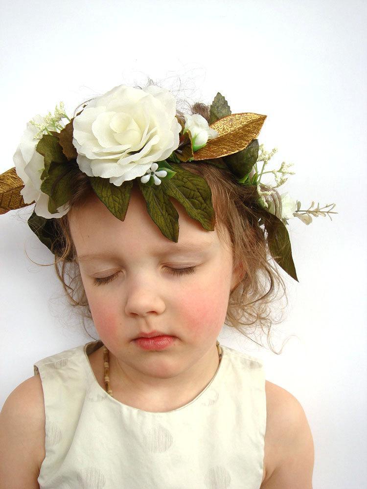 زفاف - White rose flower crown, hair accessory, hair wreath, flower girl, bridal flower crown, woodland wedding