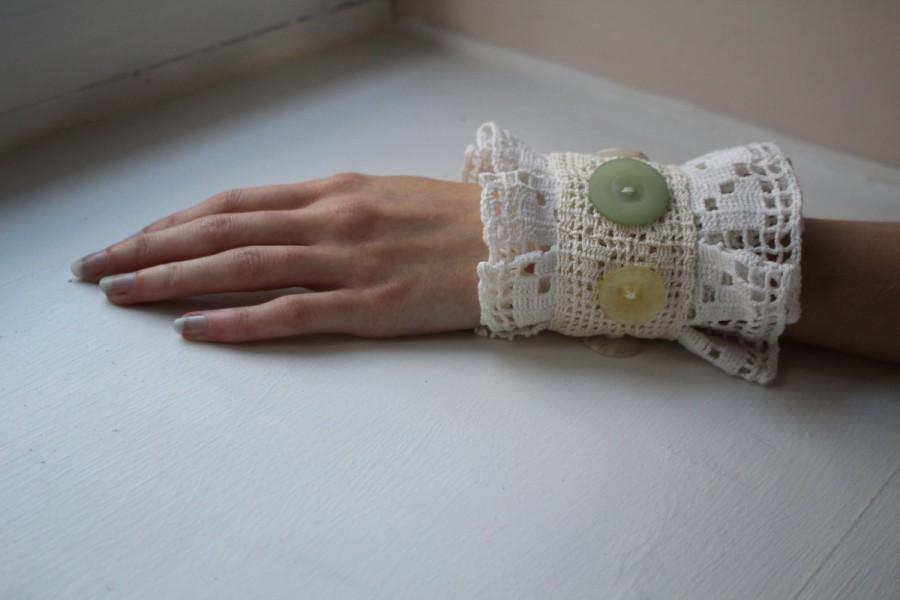 Свадьба - Sale 20% 0ff/ Bridal cuff/shabby chic/rustic/crocheted/endladesign,cotton lace/linen/embroidered,beaded /hipi/boho/romantic/bridesmaid cuff