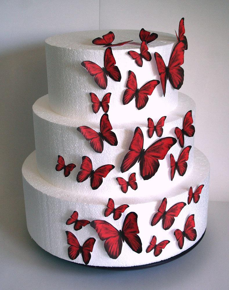 Edible Butterflies Wedding Cake Topper Red Edible Butterflies Set Of 24 DIY Cake Decor Edible