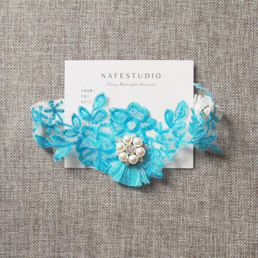 Свадьба - Wedding Bridal Garter Belt - SOMETHING BLUE Garter - Keepsake Garter - Wedding Flower Garter  - Tassel Pearls Lace Garter Belt