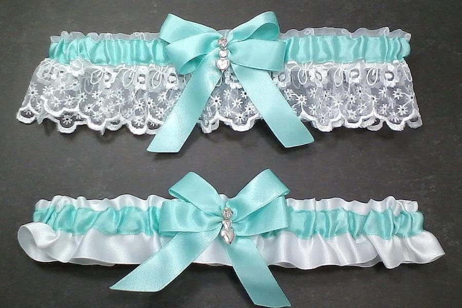 Mariage - Aqua on White Wedding Garter Set Bridal Garter Set Aqua on White Keepsake Garter Aqua on White Toss Garter Bow with Rhinestone & Heart Charm