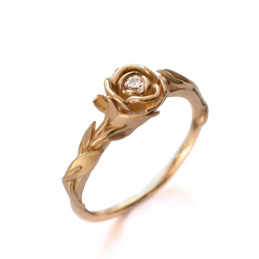 Свадьба - Rose Engagement Ring No.2 - 18K Yellow Gold and Diamond engagement ring, engagement ring, leaf ring, flower ring,antique,art nouveau,vintage
