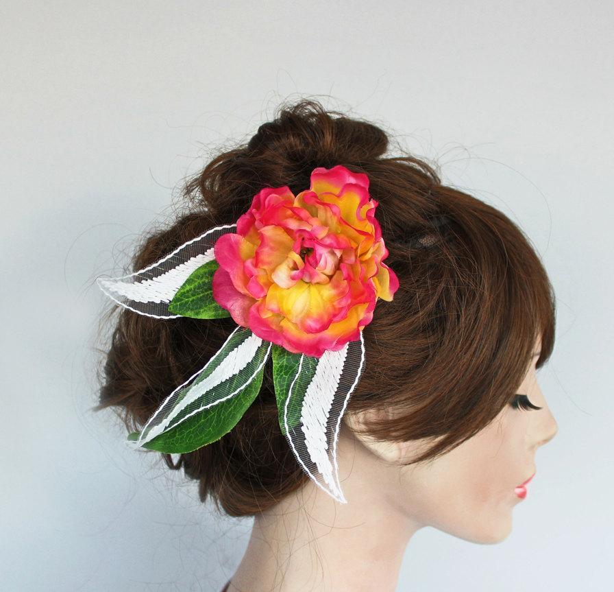 Bridal Hair Flower Spring Weddings Headddress Head Piece Peach