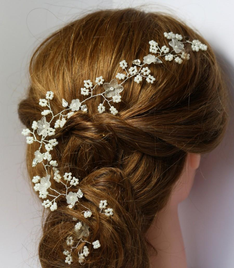 زفاف - Bridal hair vine, pearl and flower bridal hair crown, boho bride forehead band, bridal pearl halo, wedding hair vine, Gyp babies breath vine