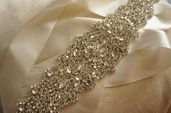 زفاف - bridal rhinestone applique, crystal beaded applique, wedding sash applique