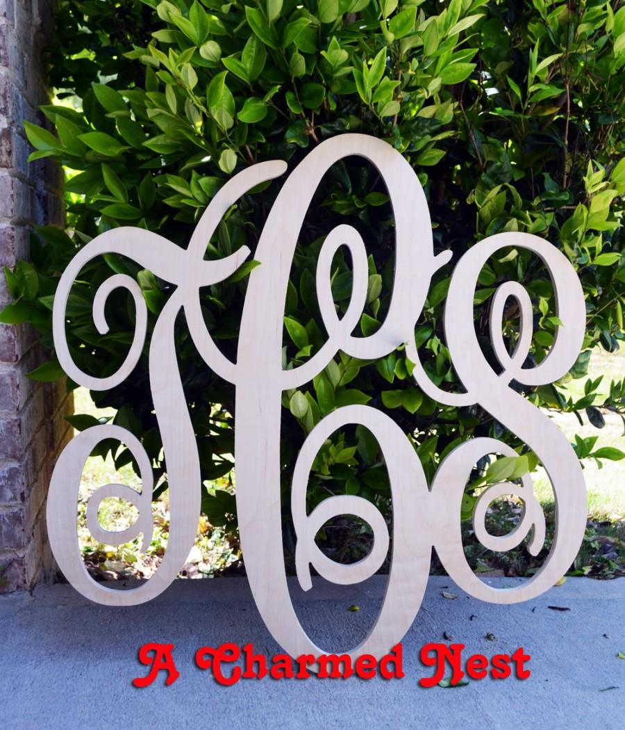 Mariage - 24x26 inch Wooden Monogram Letters. Great for weddings, birthdays, gifts, nursery and home decor