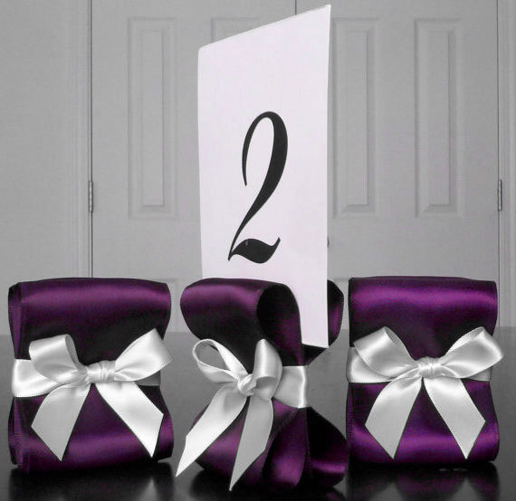 Wedding - Table Number Holders - Wedding Decor - Ten (10) with Eggplant and White Satin Ribbon - Customize Your Colors