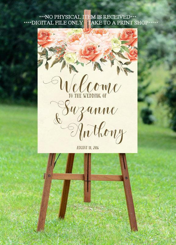 Свадьба - peach wedding sign, peach rose welcome sign, welcome wedding sign, digital wedding sign, custom welcome sign,8x10, 16x20, 18x24, 24x30