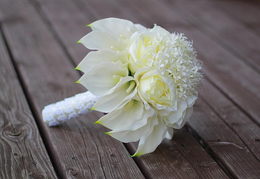 Calla Lily Bouquet,Calla Lily Wedding Bouquet,Ivory Roses Bouquet ...