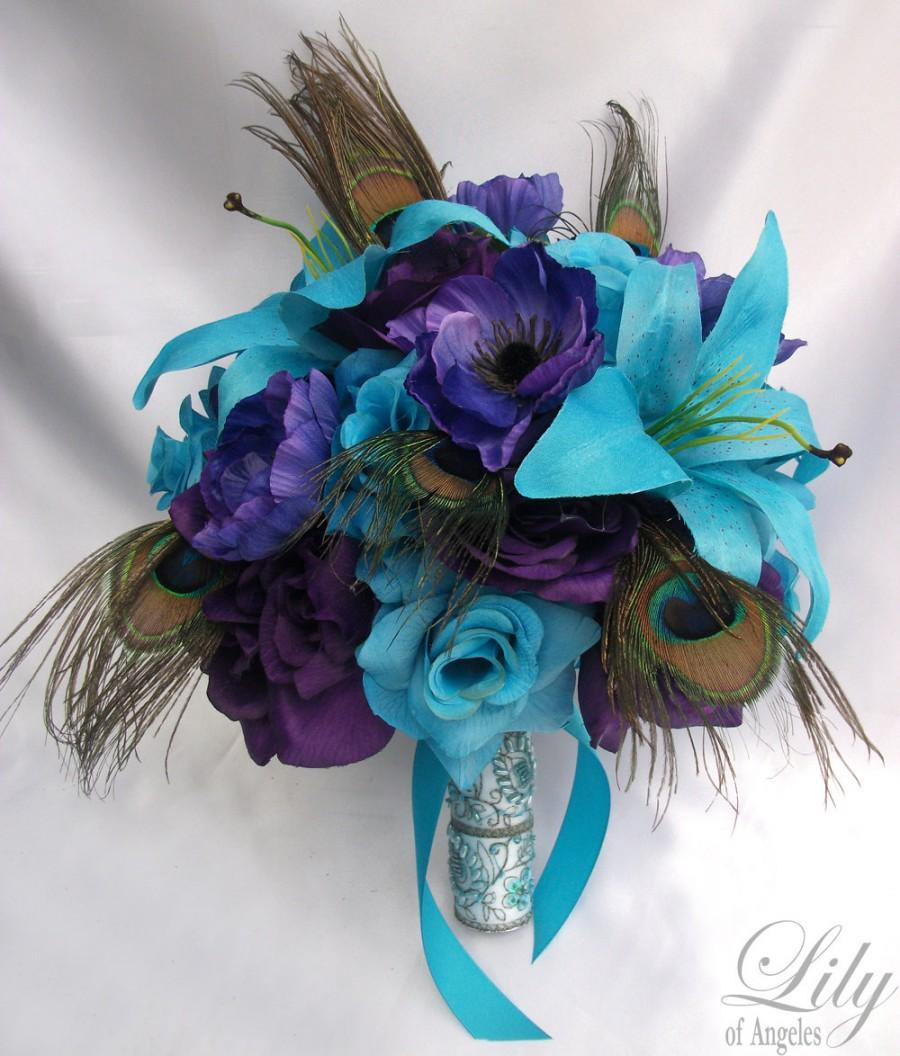 Свадьба - 17 Piece Package Wedding Bridal Bride Maid Of Honor Bridesmaid Bouquet Boutonniere Silk Flower PURPLE TURQUOISE MALIBU Peacock LilyOfAngeles