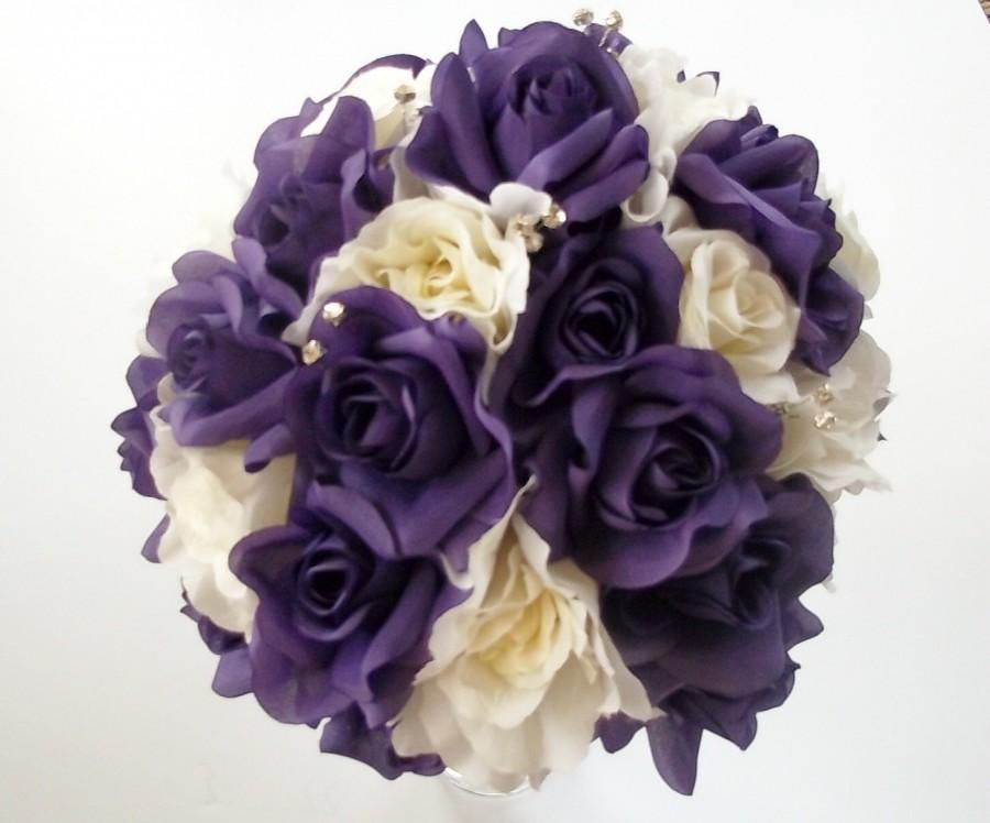 Purple And White Rose Wedding Bouquet Bridal Flowers Floral Package Destination