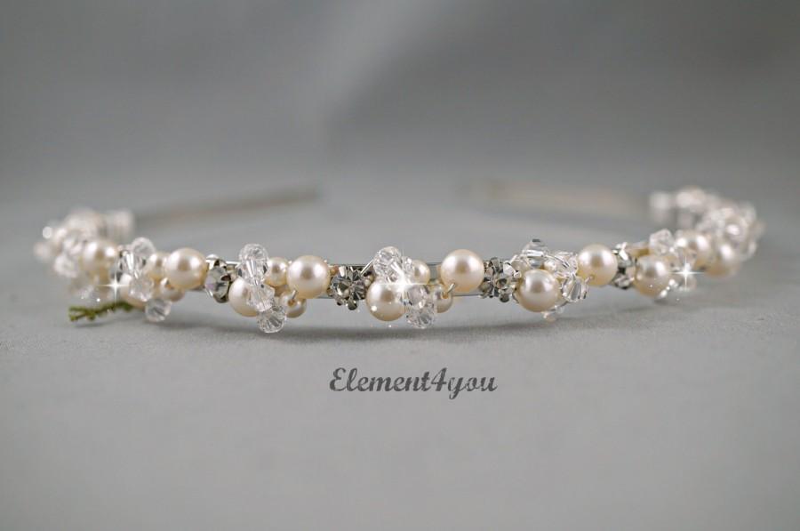 Hochzeit - Bridal Headband Silver Pearl Tiara Ivory hair piece Swarovski ivory white pearls Wedding Head band Beaded crystal rhinestones metal headband