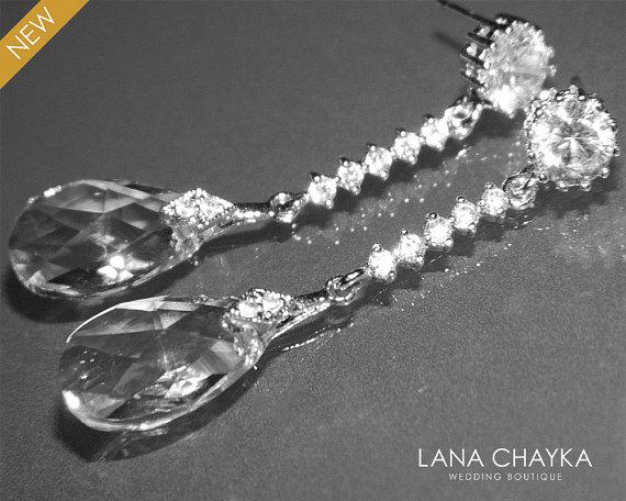 Bridal Crystal Earrings Swarovski Wedding Teardrop Clear Silver Dangle Jewelry