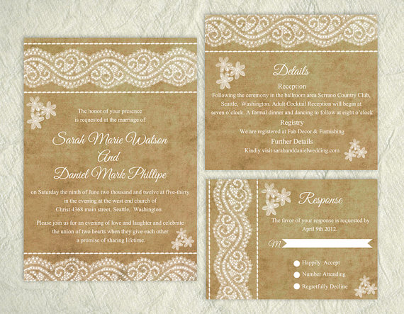 Wedding - Printable Lace Wedding Invitation Suite Printable Rustic Invitation Floral Elegant Wedding Invitation Download Invitation Edited PDF file