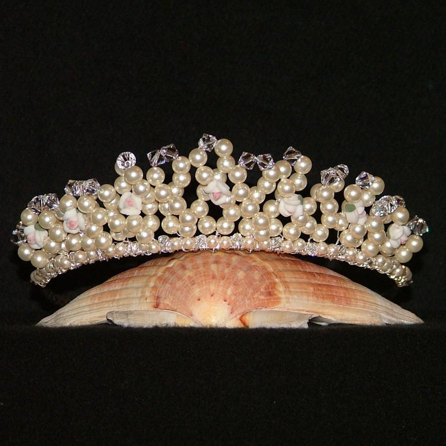 Свадьба - Swarovski Crystal Tiara With Ceramic Roses In Cream Pearl And Clear Crystal