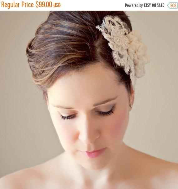 زفاف - SHOP CLOSING SALE Wedding Lace Hairpiece Silk Flowers Bridal Head Piece Wedding Hair Accessory Pearl Beaded Lace Haircomb Classic Wedding