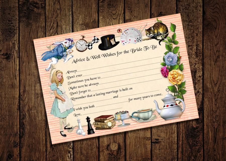 printable bridal shower game advice for the bride alice in wonderland mad hatter bridal shower tea party instant download