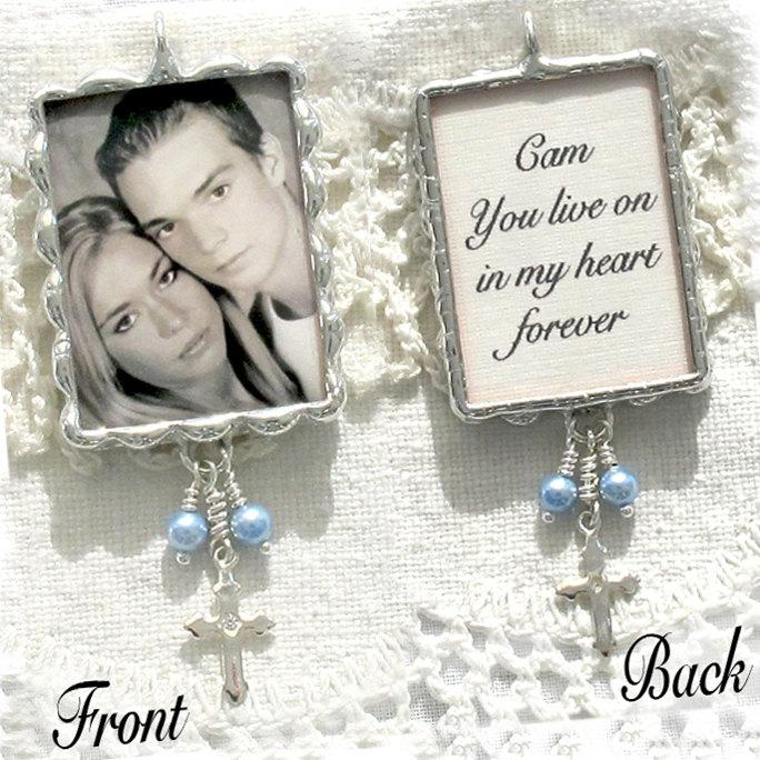 Mariage - Photo and Quote Bouquet Charm with Sterling Silver Cross and Pearls perfect for your Wedding and as a Keepsake